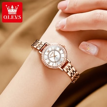 OLEVS Women's Watches Luxury Rose Gold Stainless Steel Diamond Ladies Bracelet Watch Fashion Casual