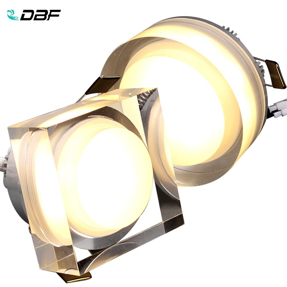 [DBF]LED kristal Downlight yuvarlak/kare 1W 3W 5W 7W LED tavan gömme işık 85-265V kabine duvar nokta Downlight ev aydınlatma