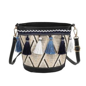 Straw Bags For Women Bucket Shape Beach Handbags Summer Rattan Shoulder Bags Handmade Knitted Travel Totes Bag 2019 New