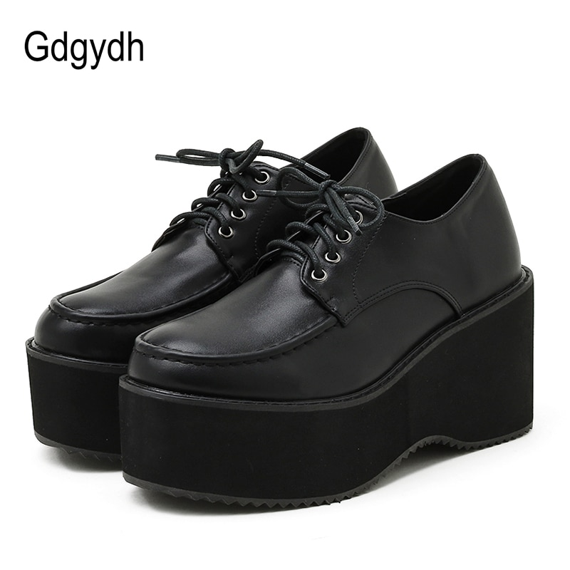 AliExpress - Gdgydh Spring Platform Shoes Autumn Harajuku Gothic Punk Black Shoes High Sole Lolita Wedges Pumps Women Lace Up Soft Leather