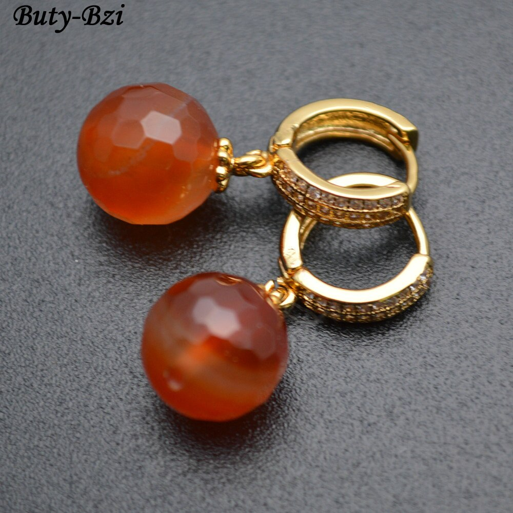 Natural Semi Precious Stone Red Carnelian Round Beads Dangle Earrings CZ Beads Setting Round Circle Hooks Fashion Jewelry