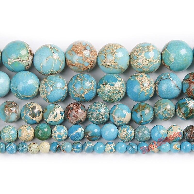 Бесплатная доставка, натуральный камень, Озерный синий осёмный, Imperial яшмы вокруг, свободные бусины 6 8 10 12 мм, размер на выбор для ювелирных изделий