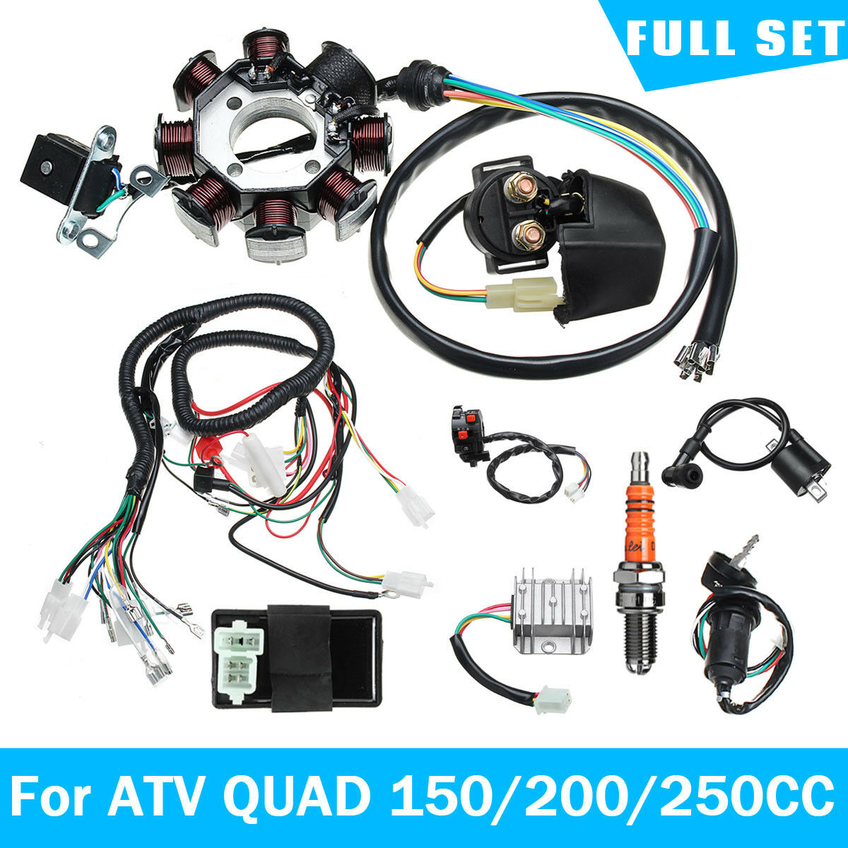 Electric Wiring Harness Wire Loom Stator Full Kit For ATV QUAD 150/200/250CC Beach ATV Wiring harness Car Accessories