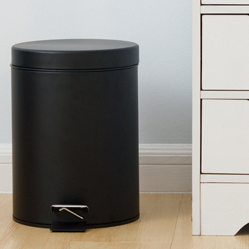 Convenient Semi-Automatic Foot-Operated Trash Can Matte Light-Colored Bathroom Trash Can Waste Paper Basket Bathroom Accessories enlarge