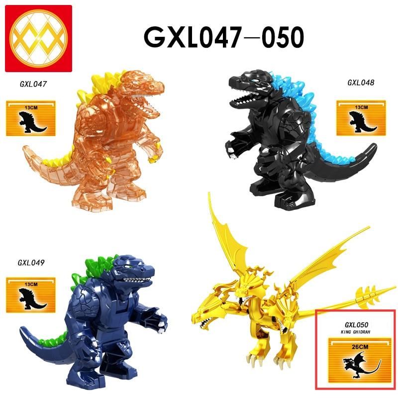 Brick Giant Monsters Kaiju King Ghidrah Burning Form Monstrous Creatures Alien Predator Dragon Building Blocks Toys for Children
