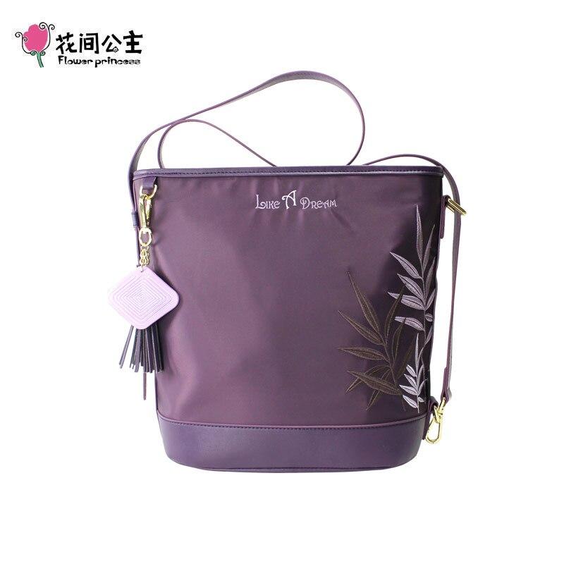 Flower Princess Women Embroidery Nylon Handbags Tassel Ornaments Waterproof Zipper Shoulder Bag For Girls Travel Female Hand Bag