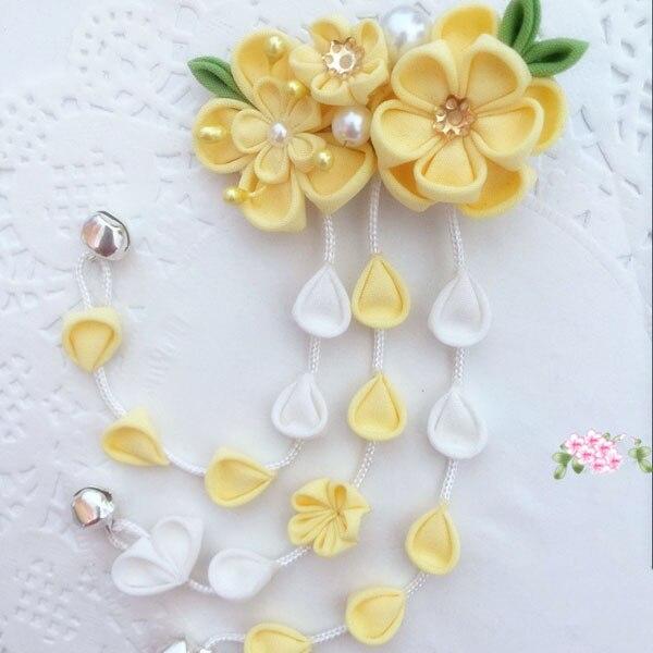 Amarillo horquilla de sakura pelo Clip Tsumami zaiku japonés Kimono trajes Hanfu chica Yukata Geisha pelo hecho a mano, adornos, regalos Cosplay
