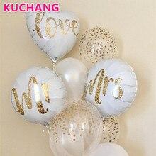 3 stücke 18 zoll Runde Weiß Gold Glitter Drucken Mr & Mrs LIEBE Folie Ballons Braut Mariage Hochzeit Decor Valentine der Tag Event Liefert