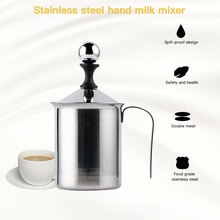 Espumador de leche Manual de 400ml/800ml, fabricante de espuma, jarro de leche de acero inoxidable, Espumador de malla de espuma para café, accesorios de cocina