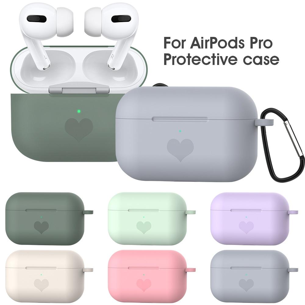 Funda de auriculares antiarañazos para cápsulas de aire Pro patrón de corazón funda de silicona con gancho para AirPods Pro 2019 funda de caja de carga