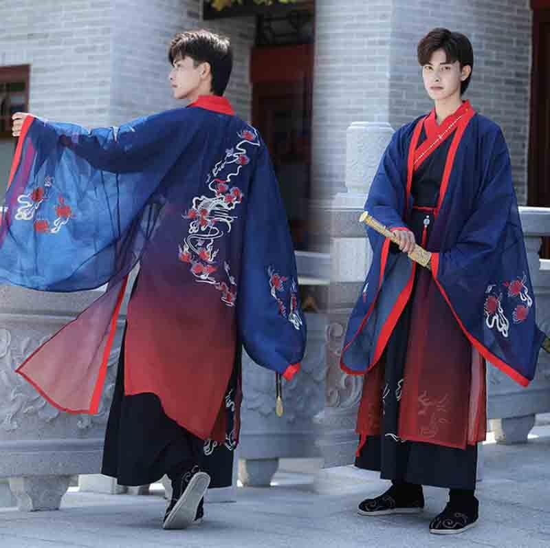 التدرج الأزرق Hanfu الأزواج التقاليد الصينية الملابس الكبار تأثيري حلي Hanfu فستان سترة زرقاء للرجال والنساء حجم كبير 4XL