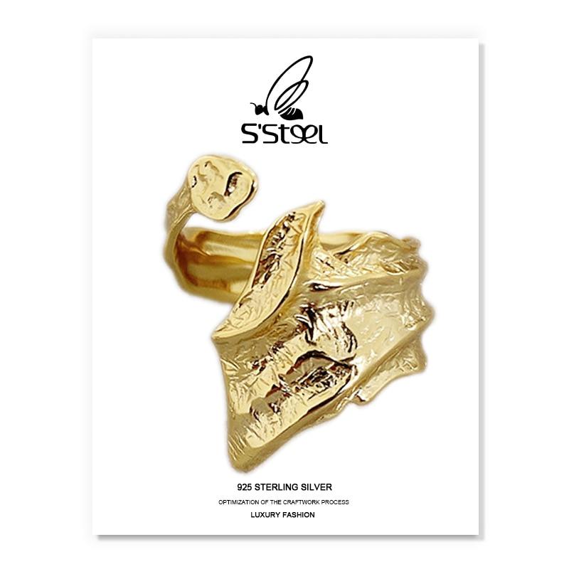S'STEEL Irregular Rings Sterling Silver 925 Gift For Women Minimalist Designer Personalized Open Rin