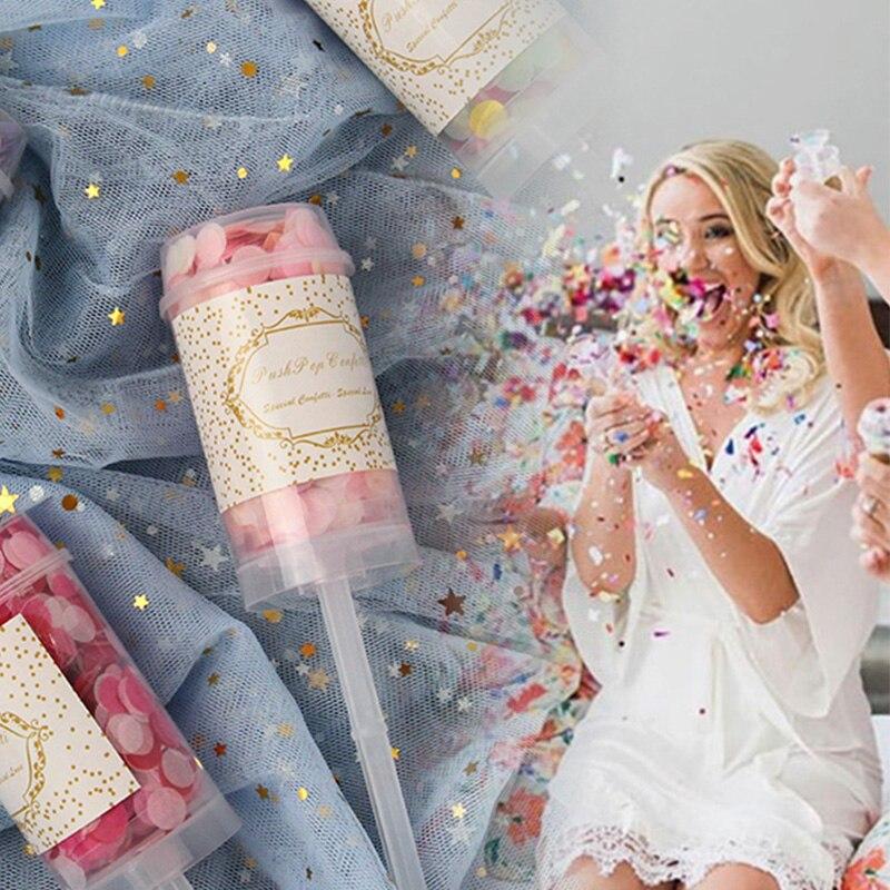 1/3/5 Uds. Poppers de confeti Multicolor, decoración de fiesta de cumpleaños de boda, fiesta de bienvenida de bebé, evento, fiesta, empuje redondo, suministros de confeti