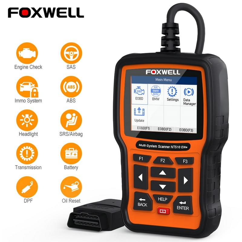 FOXWELL NT510 Elite OBD OBD2 диагностический инструмент ABS подушки безопасности srs результаты аварии SAS EPB сброс масла для BMW hyundai Kia ODB OBD 2 сканер