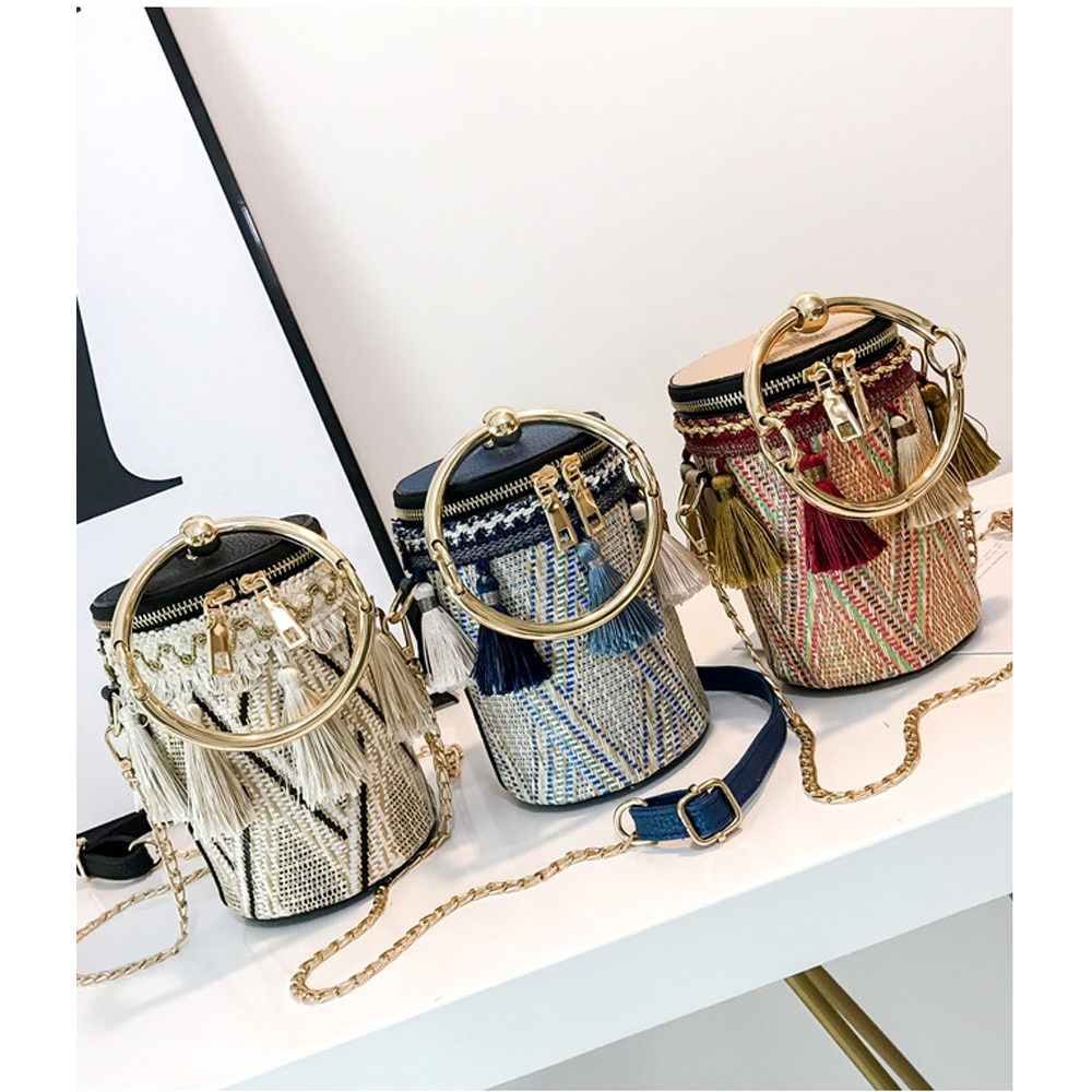 Bolso cruzado para mujer, bolso de cubo Folk personalizado, bolsas de tambor con borla, bolsas Retro para mujer, 2020 bolsos cruzados retro, bolsa con cremallera para chica