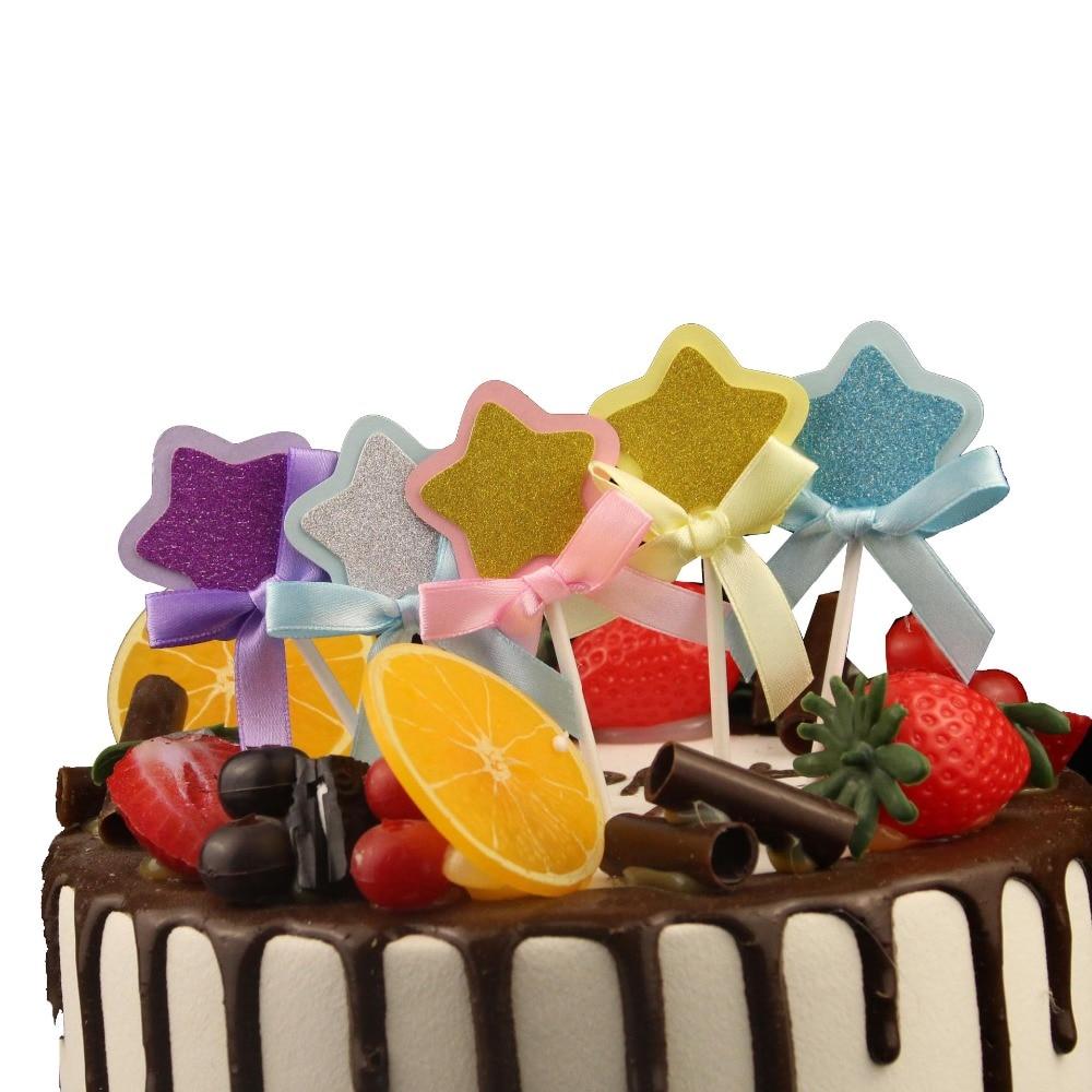 Feliz cumpleaños pastel tarjeta de cumpleaños Cupcake Corbata con estrellas bandera de baño para bebé fiesta de cumpleaños decoración pastel hornear fiesta decoración de la boda
