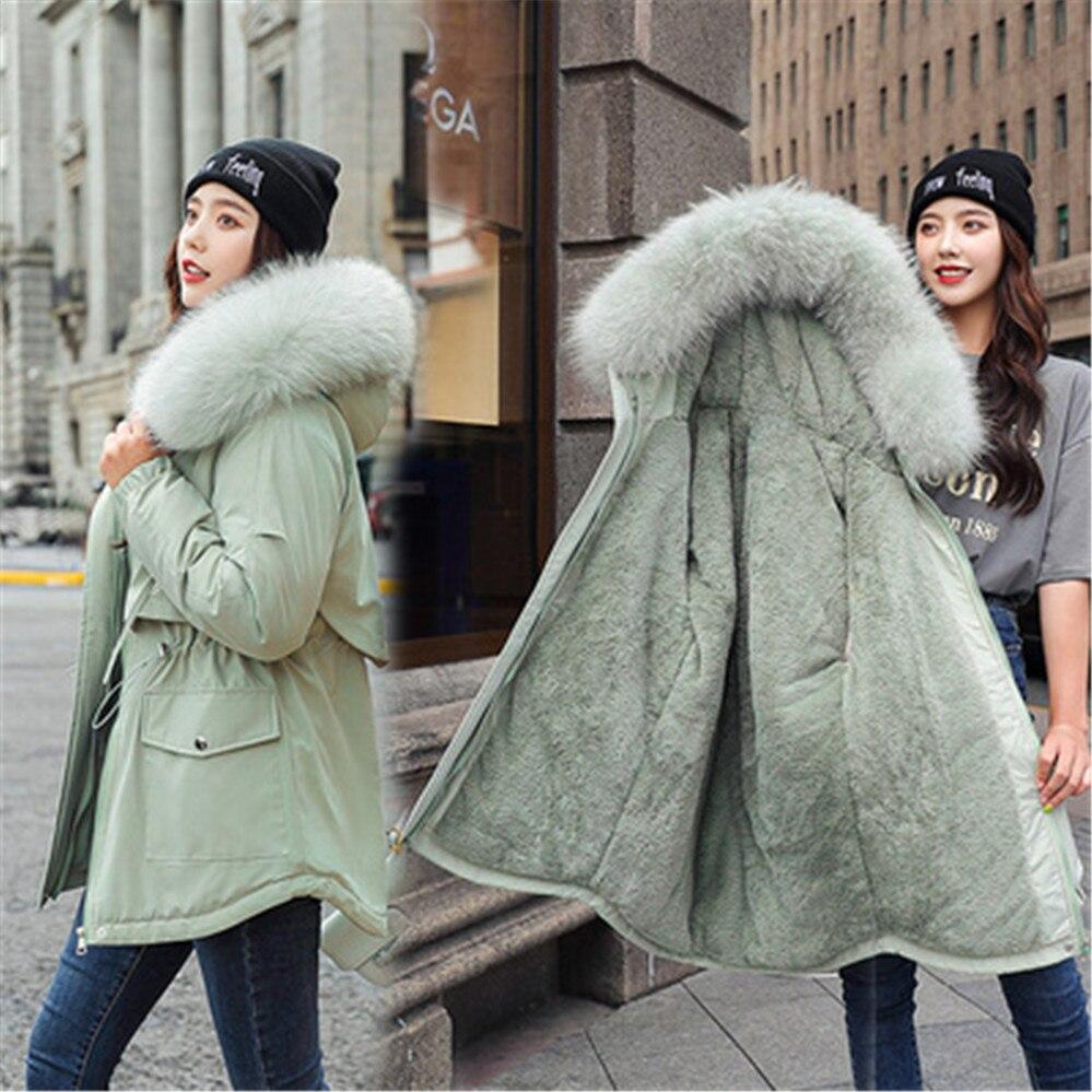 Новинка 2020, хлопковая Утепленная зимняя куртка, пальто, женская Повседневная парка, зимняя одежда, парка с капюшоном и меховой подкладкой, ж...