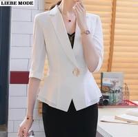 women summer formal suits office lady work wear uniform two 2 piece set blazer and skirt plus size 12 sleeve jacket suit female