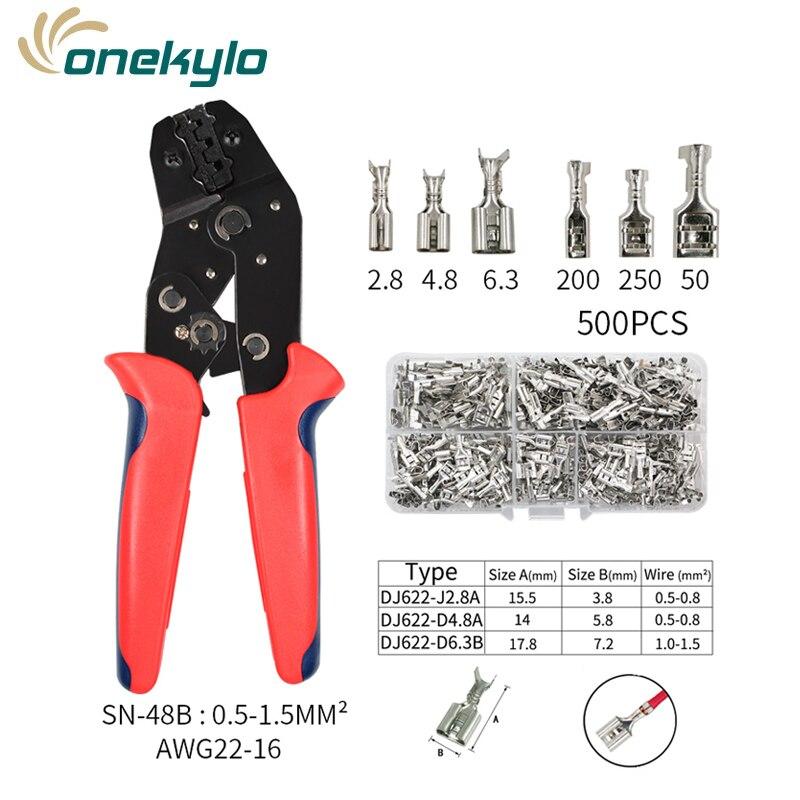 SN-48B разъемы обжимные инструменты обжимные клещи для проволоки Набор 0,5-1.5mm ² 20-13AWG с 500 шт TAB 2,8/4,8/6,3 Клеммы ручной инструмент