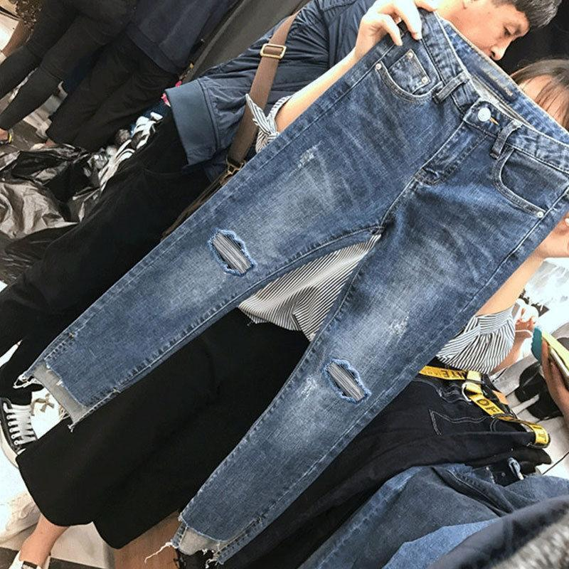 AliExpress - Women Denim Skinny Trousers Ripped Jeans For Women Hole Vintage Pencil Pants High Elasticity Stretch Trousers