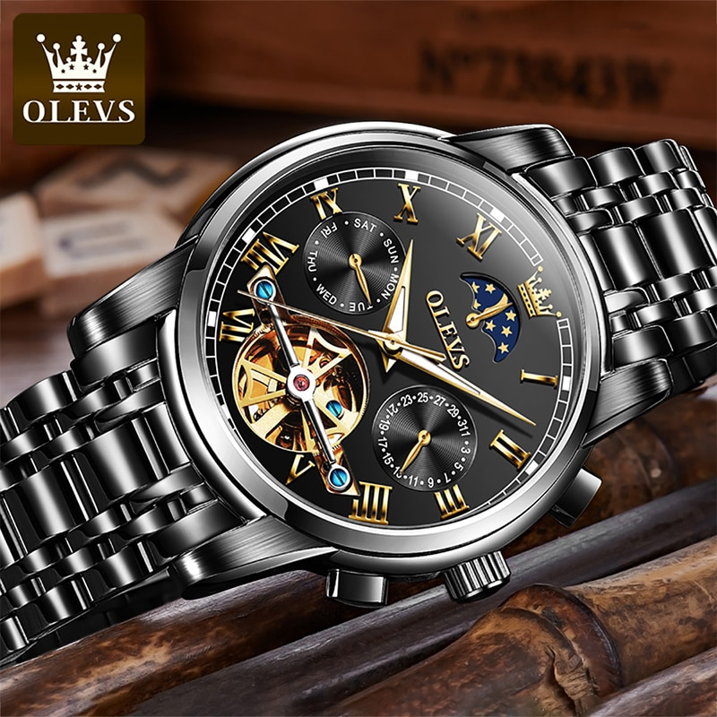 OLEVS New Business Automatic Mechanical Men HD Luminous 30M Waterproof Multifunction Moon Phase Watches Male Reloj Hombre 6617 enlarge