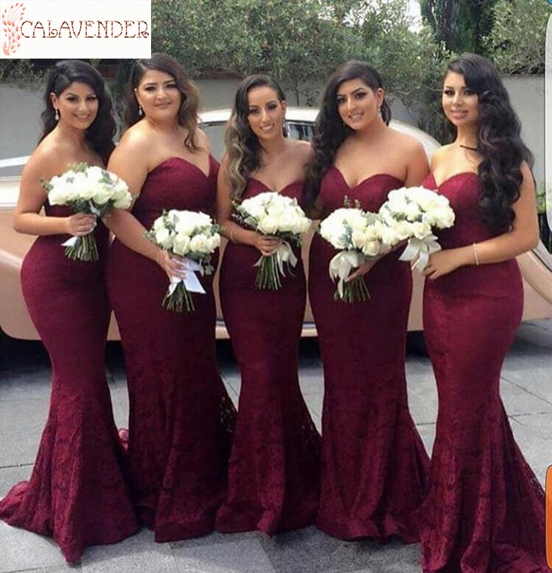 Encaje granate vestidos de sirena para dama de honor Sweetheart corpiño vestido da festa di nozze Zipper Up vestidos de invitados de boda de primavera
