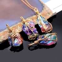 natural crystal pendant rough colored gemstones necklace for women men hand tie wire plating diy jewelry accessories