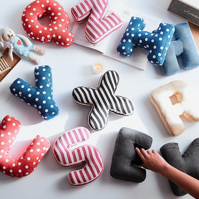 Hangable abecedario lona cojín fiesta sala de estar dormitorio cojín decorativo creativo sofá almohada Color sólido puntos rayas