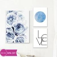 Toile de decoration de noel  affiches de peinture  fleur bleue ocean  tableau dart mural pour decoration de salon  decoration de maison