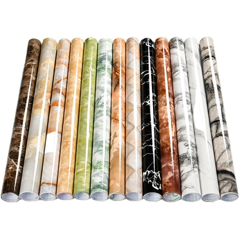 Papel tapiz de mármol, papel tapiz de pared de cocina, papel tapiz de vinilo autoadhesivo con pasta Anti-aceite, pegatinas de pared para el baño impermeables