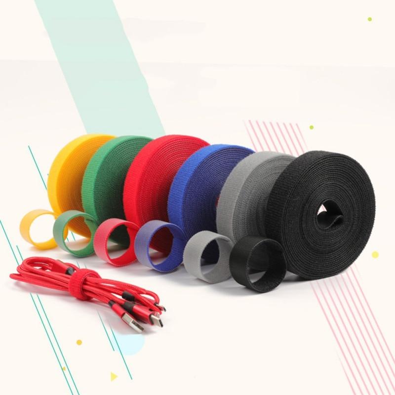 5m ataduras de Cable de datos de la computadora correa de Cable de red colorido gancho y bucle de Nylon brida para cables accesorios de cableado para el hogar 2020