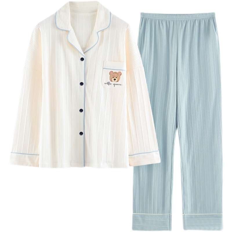 Pajamas Women's Long Sleeved Spring And Autumn Cotton Cardigan Two-piece Set Autumn And Winter Thin