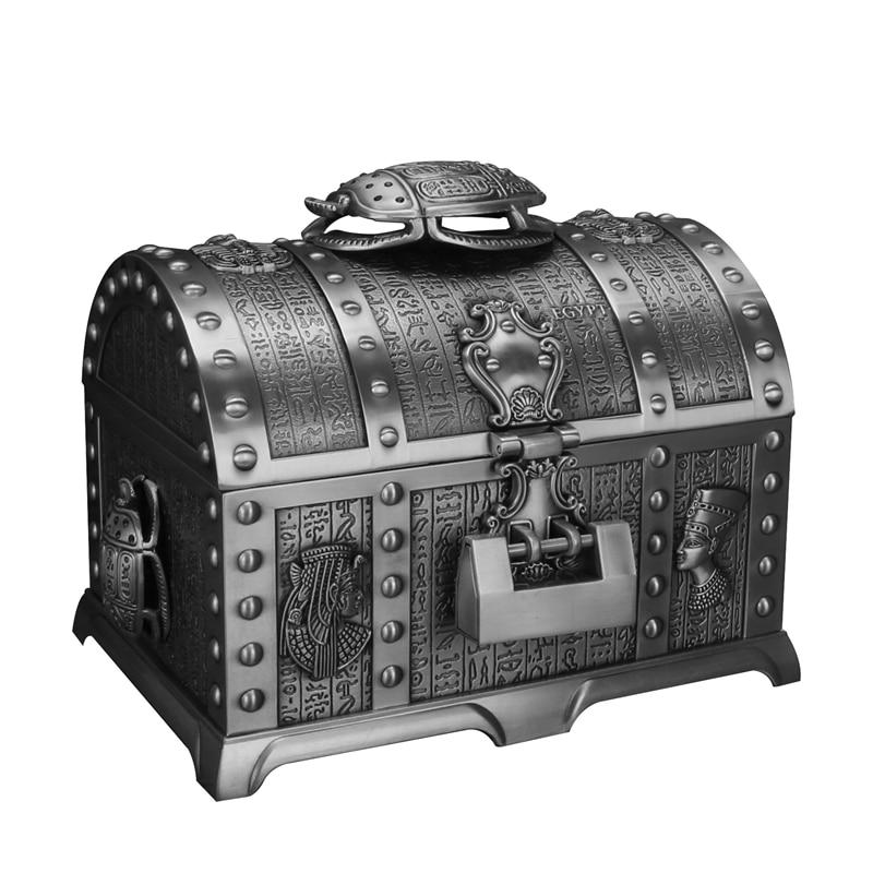 2 camadas estilo egípcio beetle vintage caixa de jóias com fechadura metal decoração para casa caixa de armazenamento namorada presente feminino guxi