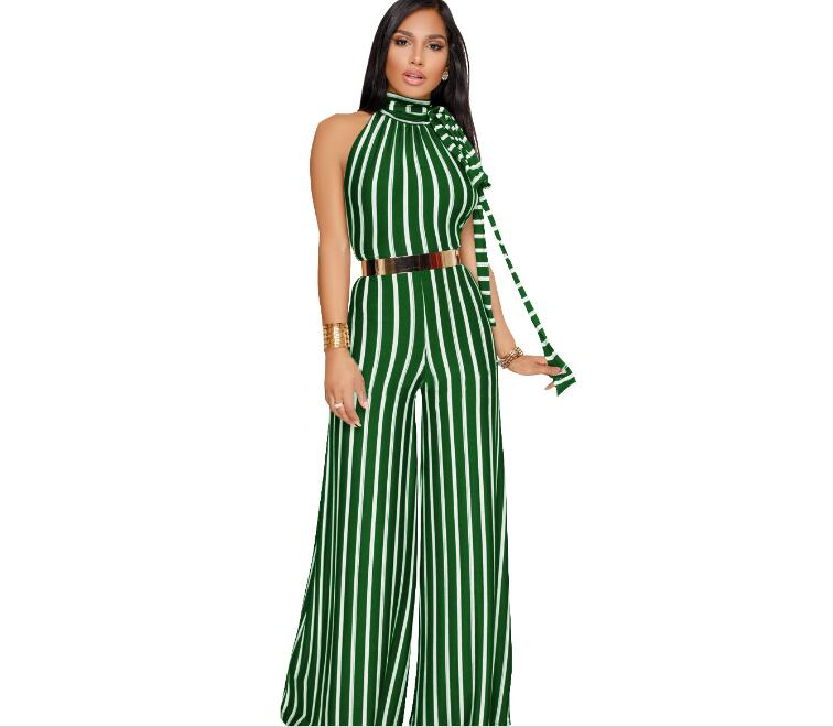 Women One piece jumpsuit Sexy Sleeveless Halter Lace up Striped straps Wide leg Siamese pants 2021 new Summer  - buy with discount