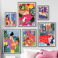 nordic retro poster boho abstract colorful girl flower leaf animal wall art print canvas painting decor pictures for living room