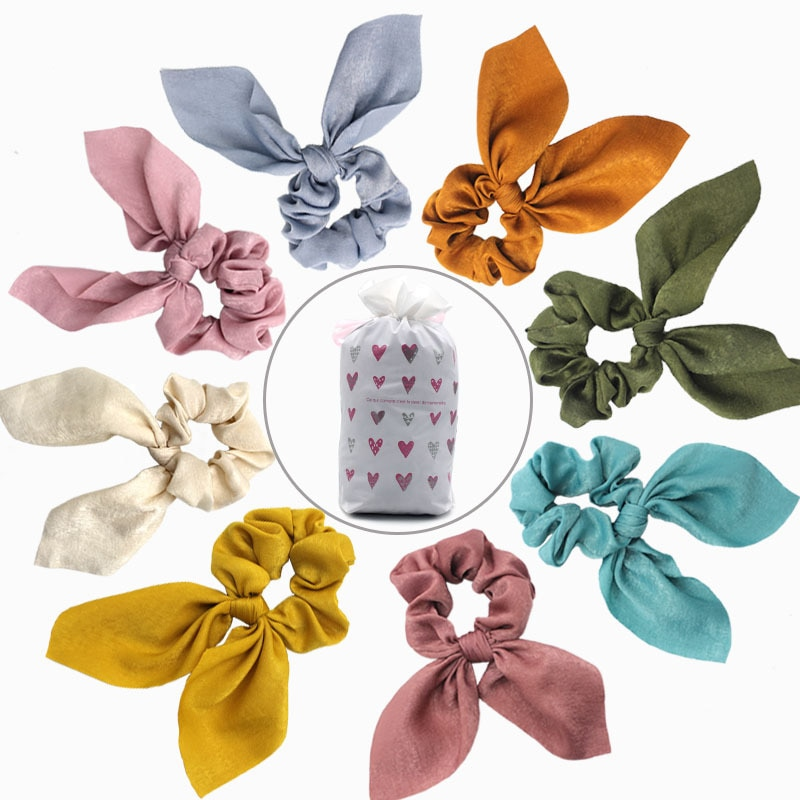 Solid Color Women Rabbit Ear Scrunchies Silk Fabric Hair Crunchies Satin Hair Elastic Rope For Girls Ponytail Bow Hair Ties