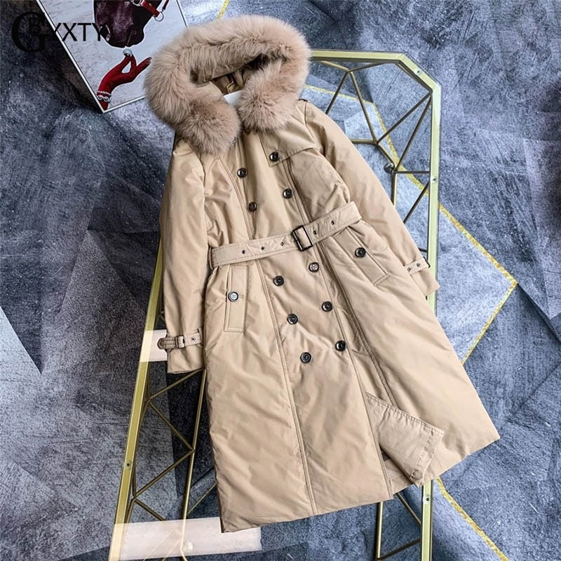 Gbyxty doubel breasted longo para baixo trench coat 2019 inverno feminino pele de raposa com capuz ganso grosso para baixo jaqueta marca za1750