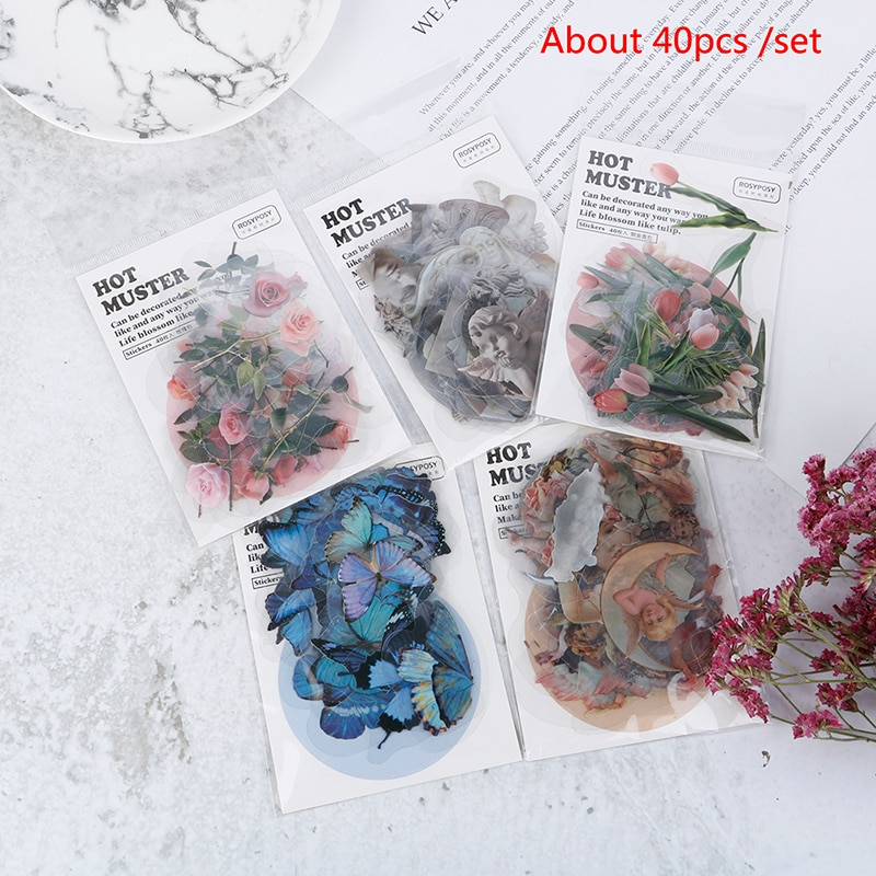 40pcs Travel Stickers Vintage Retro Green Plants Flowers Paper Stationery Stickers Decorations Diary Albums