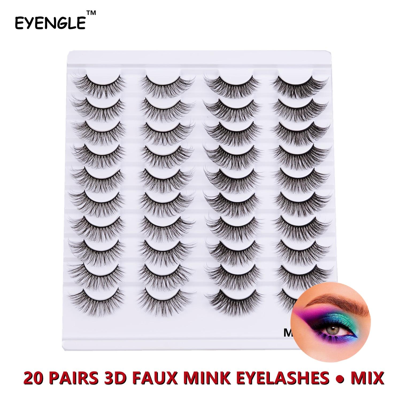 EYENGLE MIX 20Pairs 3D False Mink Eyelashes Natural Thick Long Soft Handmade 10-20mm Eyes lashes Ext