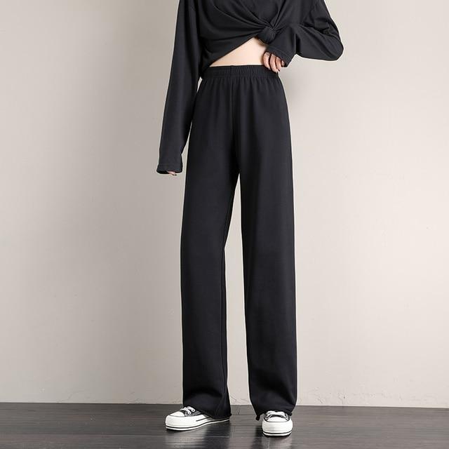Женские брюки, женская уличная одежда, джоггеры оверсайз с высокой талией в Корейском стиле, модные широкие штаны в стиле Харадзюку, новинка 2021, спортивные брюки-багги Женская одежда     АлиЭкспресс