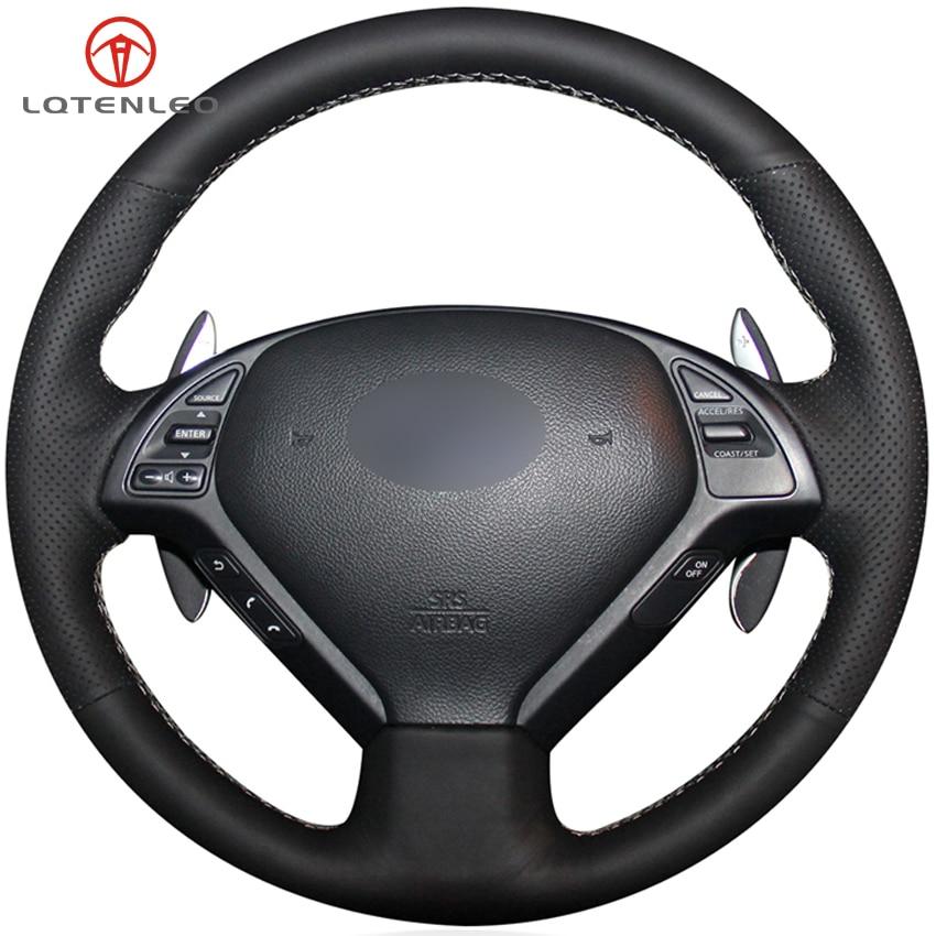 LQTENLEO funda negra de cuero Artificial para volante de coche para Infiniti G G25 G35 G37 EX EX35 EX30 EX37 Q Q40 Q60 QX50 2014-2018