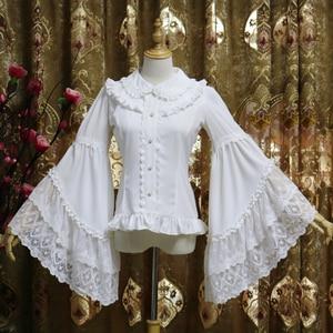Lolita long-sleeved shirt flared sleeve chiffon palace doll collar retro temperament inner bottoming shirt victorian top loose