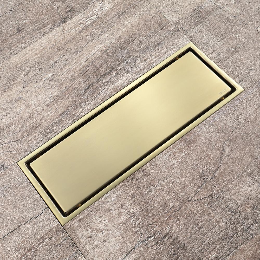 Brushed Gold Linear Floor Drain 30x11cm 304 Stainless Steel Bathroom Shower Water Anti odor Drains Tile Insert HIDEEP