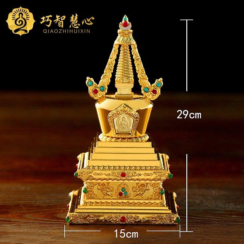 Copper Crafts Stupa Tibetan Buddhist stupa supplies Bodhi pagoda 6inch gold fine workmanship Buddha tower can install reservoir