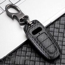 ABS Carbon Fiber Car Key Case Cover For Audi 2018 2019 A8L 2019 A6L A7 2016 A6 C8 A8 Q8 Accessories Car Stying