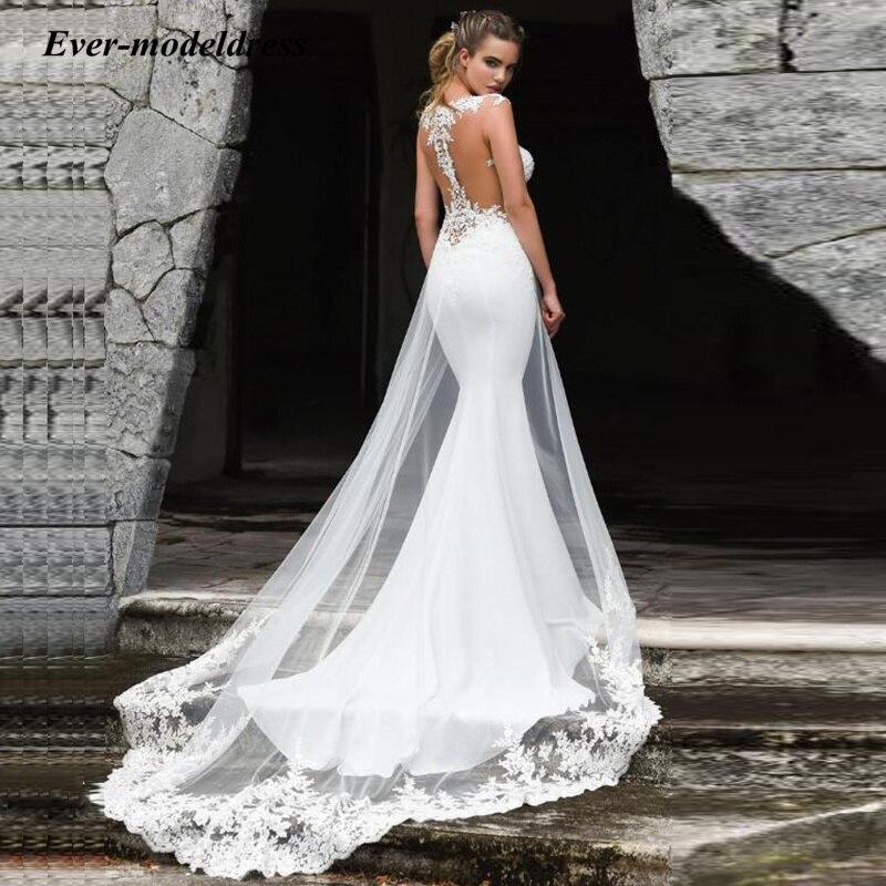 Новинка, свадебные платья с юбкой-годе, сексуальные кружевные платья без рукавов с иллюзией и аппликацией на спине, свадебные платья, свадеб...
