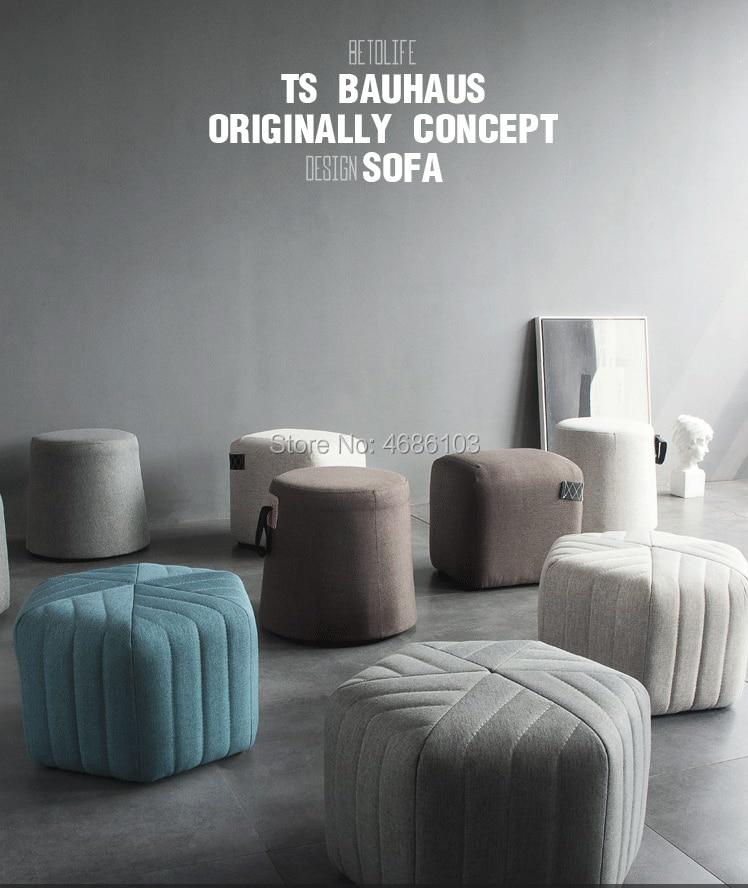 Recién llegado, concepto original estilo nórdico, sofá hexagonal de tela de lino, Banco otomano tamaño 45x45x30cm, taburete, conjunto de sofá, muebles para sala de estar, 2019