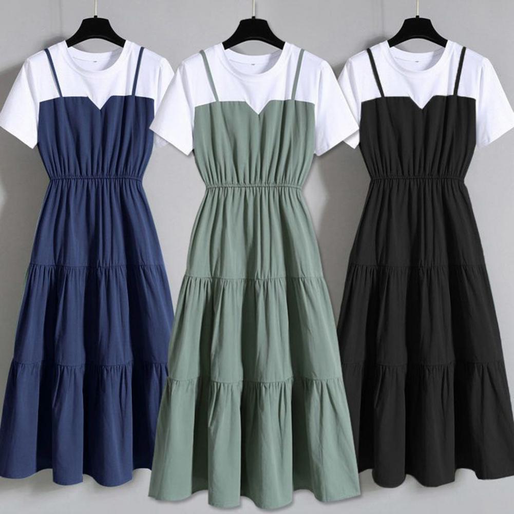 AliExpress - Hot Sales!! Mid Dress Color Block Short Sleeve Women Round Neck Waist Tight Dress for Dating
