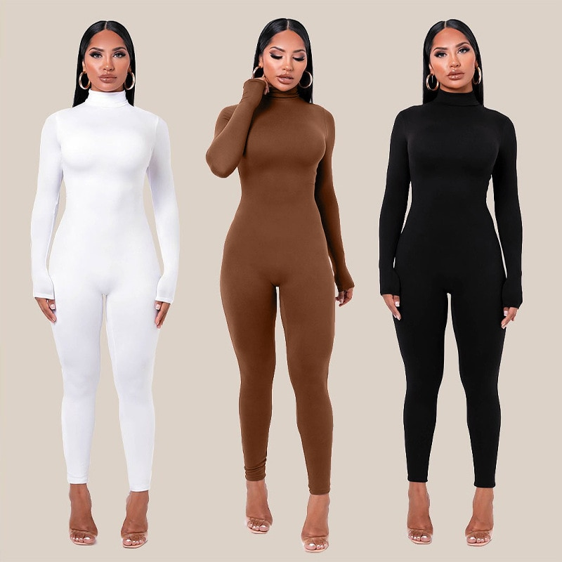 Plain Color Women Rompers 2021 Long Sleeve Solid Turtleneck Skinny Bodycon Jumpsuit Fashion Fitness Casual One Piece Overalls