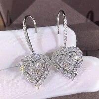 luxury dazzling shine heart dangle drop earrings charming bridal earrings aaa cubic zirconia women earring wedding women jewelry
